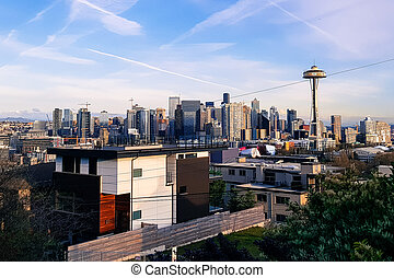 Seattle Panorama Skyline at day-time with Needle Tower