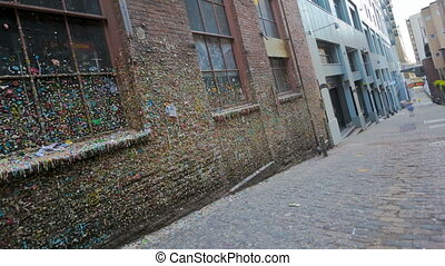 Seattle Post Alley - Timelapse of People walking by the gum...