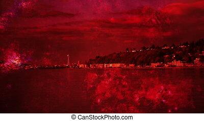 Seattle red dark grunge horror mixed media time lapse