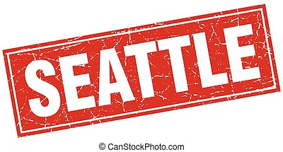 Seattle red square grunge vintage isolated stamp