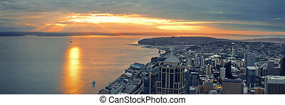 Seattle rooftop sunset