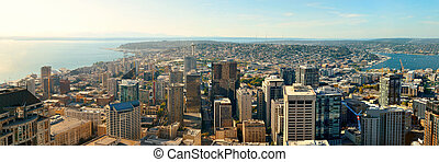 Seattle rooftop view with city urban architecture