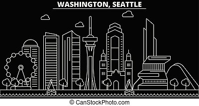 Seattle silhouette skyline. USA - Seattle vector city, american linear architecture, buildings. Seattle travel illustration, outline landmarks. USA flat icons, american line banner