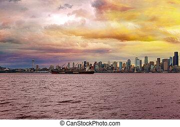 Seattle Skyline along Elliott Bay