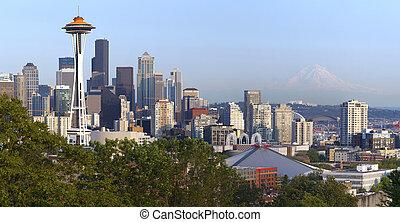 Seattle skyline and Mt. Rainier. - Seattle skyline at sunset...