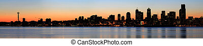 Seattle Skyline and Puget Sound at Sunrise
