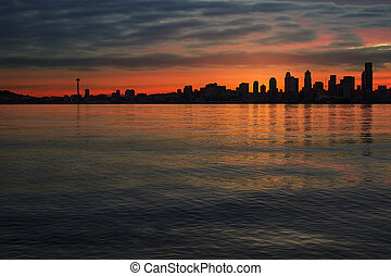 Seattle Skyline At Dawn