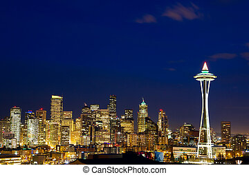 Seattle skyline at dusk - Seattle skyline with Space Needle...