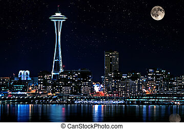 Seattle Skyline At Night with Full Moon - This photo is of...