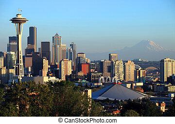 Seattle skyline at sunset, WA.