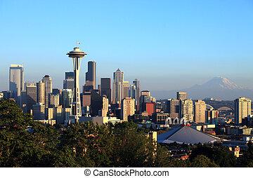 Seattle skyline at sunset, Washing