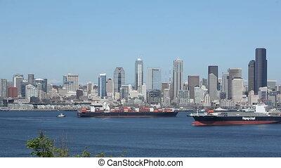 Seattle Skyline Cargo Freighters - Seattle, cargo freighter,...