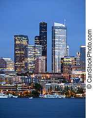 Seattle Skyline Downtown Office Buildings Nautical