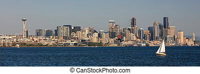 Seattle Skyline from Puget Sound Panorama Web Banner