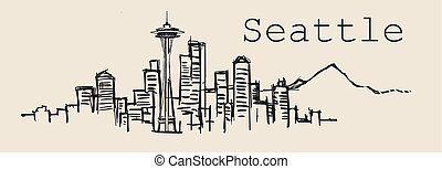 Seattle skyline, hand-drawn sketch vector illustration isolated on white background.