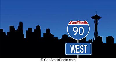Seattle skyline interstate sign