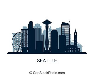 Seattle skyline, monochrome silhouette. Vector illustration.