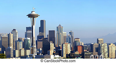 Seattle skyline panorama at sunset. - A panoramic view of...