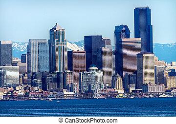 Seattle Skyline Puget Sound Cascade Mountains Washington ...