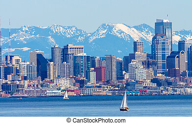 Seattle Skyline Sailboats Puget Sound Cascade Mountains...