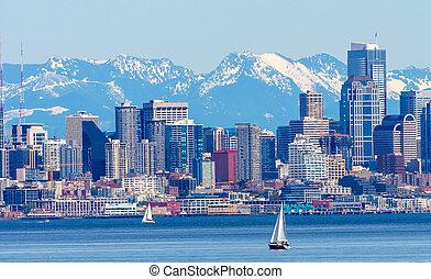 Seattle Skyline Sailboats Puget Sound Cascade Mountains...