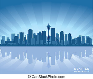 Seattle, Washington skyline illustration with reflection in water