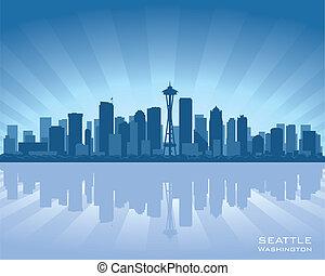 Seattle, Washington skyline illustration with reflection in water