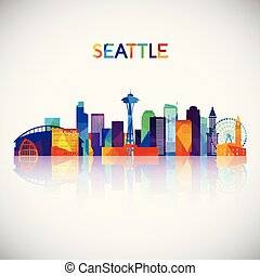 Seattle skyline silhouette in colorful geometric style.
