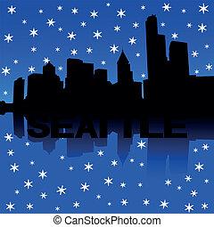 Seattle skyline snow illustration