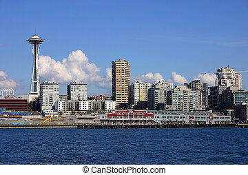Seattle Skyline with Space Needle, view from Pudget Sound