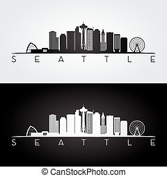 seattle skyline, sylwetka