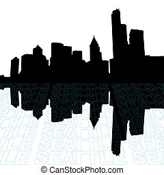 Seattle skyline with perspective text outline foreground
