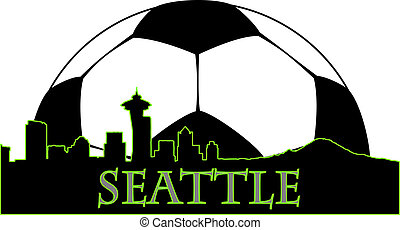 Seattle soccer - Seattle city high-rise buildings skyline...