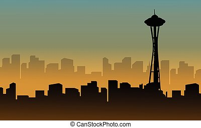 seattle space needle tower scenery silhouettes vector...