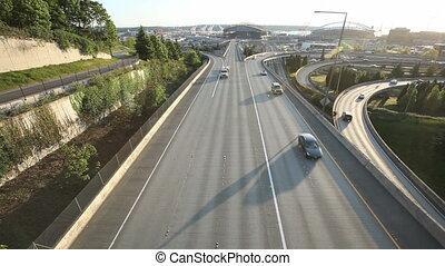 Seattle Sunset Interstate Traffic