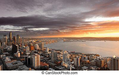 Seattle Sunset - Sunset over City of Seattle