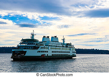 Seattle to Bremerton ferry with a beautiful view of the sky.