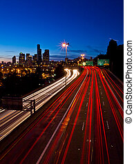 Seattle twilight with freeway light - Seattle twilight blue...
