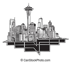 Seattle, WA Skyline. Black and white vector illustration EPS...