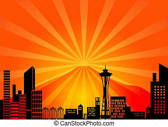 Seattle Washington City Skyline and Mount Rainier Illustration