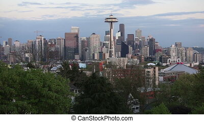 Seattle Washington city view skyline early evening