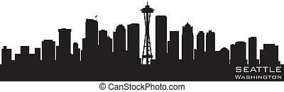 seattle, washington, skyline., detalhado, vetorial, silueta