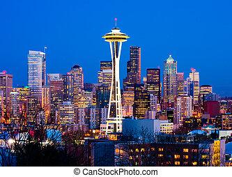 Seattle, Washington State - Seattle downtown at night
