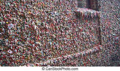 The Market Theater Gum Wall in downtown Seattle on October 10, 2014. It is a local landmark in downtown Seattle, in Post Alley under Pike Place Market.