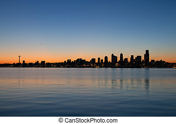 Seattle Washington Waterfront Skyline at Sunrise Panorama
