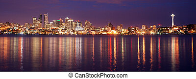 Seattle Waterfront and reflection at night