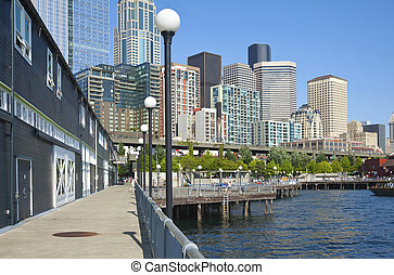 Seattle waterfront promenade and skyline.