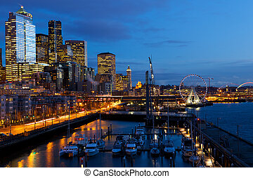 Seattle skyline, waterfront and Great Wheel at dusk, WA