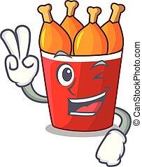 seau, deux, doigt, poulet, frit, dessin animé, rouges