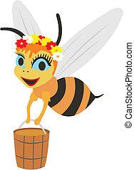 seau miel, abeille